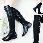 Women Ladies Stud Low Flat Heel Knee High Thigh Stretch Boots Zipped Shoe Size