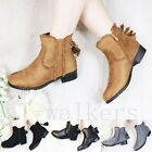 WOMENS LADIES ZIP TASSEL CHUNKY MID LOW BLOCK HEEL WORK ANKLE BOOTS SHOES SIZE
