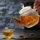 Handmade Glass Teapot Set Diamond Crystal Pattern Cup Afternoon Tea Leaf Herbal