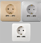 EU Plug 2A Dual USB Port Outlet LED Power Charger Adapter Wall Socket Switch 1PC