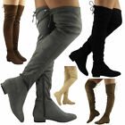 Womens Ladies Thigh High Over The Knee Low HeelL Lace Up Slouch Flats Boots Size
