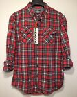 SUPERDRY Mens Red Plaid Grindlesawn Pocket Button Down Shirt XS S M L (MSRP $78)