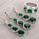 925 Silver Emerald Gemstone Rings Pendant Necklace Earrings Women Jewelry Set