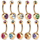 Rose Gold Plated Steel Double CZ Gem Ball Belly Ring Pierced Navel Naval