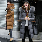 NEW Winter Women's long Down Cotton Parka Fur Collar Hooded Coat Quilted Jacket