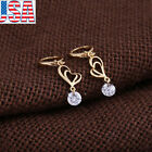 Lady 18k Gold Plated Crystal Drop Dangle Doule Hollow Heart Hoop Earrings Gift