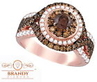 14K ROSE GOLD BRANDY DIAMOND CHOCOLATE BROWN ULTIMATE QUEEN BEE HALO RING 2CT