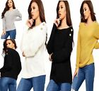 Ladies Long Sleeve Knitted Shoulder Button Top Womens Baggy Style Cardigan