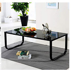 Retro Coffee Table Metal Frame Tempered Glass Rainbow Black Top Living Room