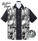 Steady BETTIE PAGE COLLAGE Rockabilly Pin Up Bowling Shirt - Black -Size S - 3XL