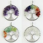 Natural Amethyst Lapis Lazuli Garnet Chip Beads Tree of Life Silver Pendant 50mm
