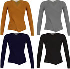 New Womens Plain Jersey V NECK Long Sleeve Basic SWEATER JUMPER Pullover Tops