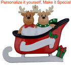 Personalized  Christmas Ornament Reindeer Family Sled of 2 3 4 Christmas Gift