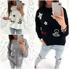 New Womens Polyester Casual Loose Sweater Long Sleeve Pullover Tops Sweater SH