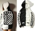 OFF-WHITE street fashion two-color fight color twill printing loose thin hoodie