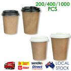 Take Away Brown Single Wall Coffee Cups with Black and White Sippa Lids