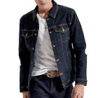 Mens Long Sleeve Soft Denim Jeans Jackets Slim Fit Casual Jean Coats Outerwears