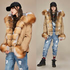 Women's Real Fox Fur Collar Cuff Hooded Coat Winter Fashion Jacket Short Parkas
