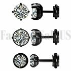 Stainless Steel Mens Ladies White Cubic Zirconia Stud Earrings Screw Back Gift