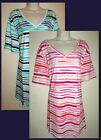 Womans Plus 5X V Neck 100% Cotton Striped Print Tee New in Package