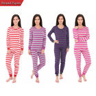 Womens Long Sleeve Fitted Striped Casual 2 Piece Pajama Set Sleepwear