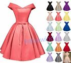 Short Off Shoulder Satin Prom Evening Party Cocktail Homecoming Bridesmaid Dress