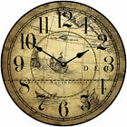 Tan Map LARGE WALL CLOCK 10- 48 Whisper Quiet Non-Ticking WOOD HANDMADE