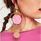 ON TREND MISMATCH ASYMMETRICAL DROP DANGLE GOLD TONE EARRINGS COLOURS UK SELLER