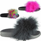 Girls Childrens Faux Fur Sliders Slippers Slip On Slides Flat Shoes Size