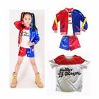 Kids Suicide Squad Harley Quinn Halloween Cosplay Pants Shorts Coat Suit Girl US