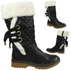 New Womens Ladies Ankle Lace Up Mid Calf Hard Sole Winter Rain Boots Shoes Size