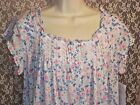NWT EILEEN WEST 1X NIGHTGOWN COTTON MODAL SHORT SLEEVE WALTZ Pink Blue Floral