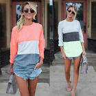 Women Fashion Irregular Loose T-shirt Long Sleeve Patchwork Pullover Casual Tops