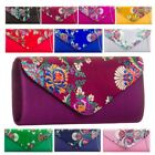 LADIES NEW SATIN FLORAL EMBROIDERED BRIDAL PROM CLUTCH BAG HANDBAG