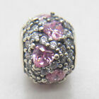 Shimmering Heart Fancy Pink Pave CZ Authentic 925 Silver Ball Charm
