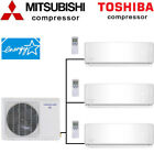 21 SEER Tri Zone Ductless Mini Split Air Conditioner Heat Pump, Ceiling cassette
