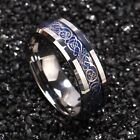 8/6mm Tungsten Carbide Ring Silver Celtic Dragon Blue carbon fibre Mens Jewelry