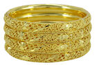 18K Gold Plated 4PC Bangles Set Traditional Wedding Bracelets Jewelry -BSG3196