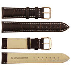 Alligator Grain Brown Genuine Leather Watch Band Strap Rosegold Pin Buckle 18~24