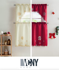 VCNY Home Christmas Embroidered Kitchen Curtain Set - Assorted Colors