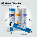 "5 Stage Water Purification System Filter Set 10"" PP,GAC,CTO,T33 + 50 GPD RO Film"