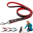 Braided Leather Dog Leads Walking Leash for Medium Large Dogs Pet Pink Red Blue