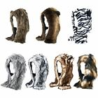 Mens Ladies Faux Fur Animal Warm Winter Fluffy Plush Hat Cap With Ears New