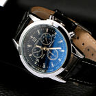 Military Leather Stainless Steel Quartz Analog Army Men's Quartz Wrist Watches image