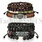 2 Sets(8pcs) Men Women Braided Leather Wristband Bracelet Set Beaded Cuff Bangle