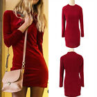 Fashion Evening Party Cocktail Clubwear Women Long Sleeve Slim Velvet Mini Dress