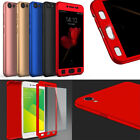 Ultra Slim 360° Protect PC Hard Back Case+Tempered Glass Cover For Various phone