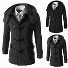 Men Stylish Trench Coat Double Breasted Slim Winter Long Jacket Outwear Overcoat