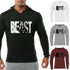 The Beast Men Gym Fitness Workout Hoodies Long Sleeve Casual Breathable Pullover