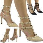 New Womens Ladies Studded T-Bar Ankle Strap High Heel Party Shoes Sandals Size